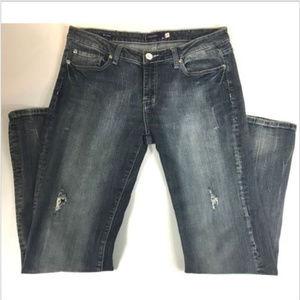 Vigoss Jeans Size 11 Distressed Bootcut Blue Denim